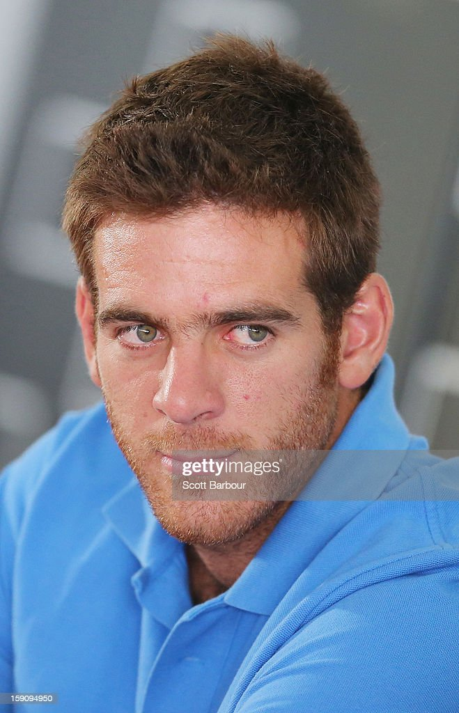<a gi-track='captionPersonalityLinkClicked' href=/galleries/search?phrase=Juan+Martin+Del+Potro&family=editorial&specificpeople=606583 ng-click='$event.stopPropagation()'>Juan Martin Del Potro</a> of Argentina looks on during the AAMI Classic press conference at Kooyong on January 8, 2013 in Melbourne, Australia.