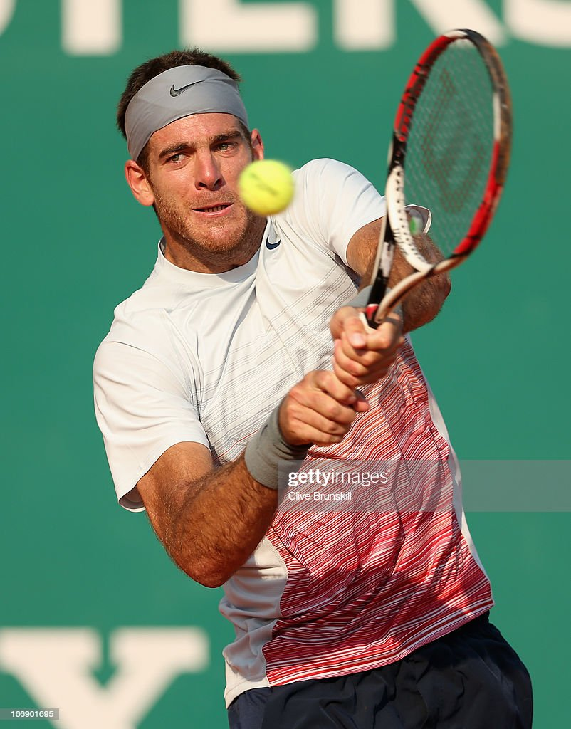 <a gi-track='captionPersonalityLinkClicked' href=/galleries/search?phrase=Juan+Martin+Del+Potro&family=editorial&specificpeople=606583 ng-click='$event.stopPropagation()'>Juan Martin Del Potro</a> of Argentina plays a backhand against Jarkko Nieminen of Finland in their third round match during day five of the ATP Monte Carlo Masters,at Monte-Carlo Sporting Club on April 18, 2013 in Monte-Carlo, Monaco.