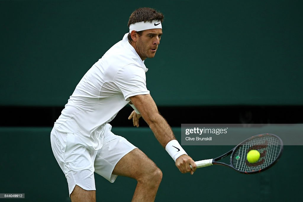 <a gi-track='captionPersonalityLinkClicked' href=/galleries/search?phrase=Juan+Martin+Del+Potro&family=editorial&specificpeople=606583 ng-click='$event.stopPropagation()'>Juan Martin Del Potro</a> of Argentina plays a backhand during the Men's Singles second round match against Stan Wawrinka of Switzerland on day five of the Wimbledon Lawn Tennis Championships at the All England Lawn Tennis and Croquet Club on July 1, 2016 in London, England.