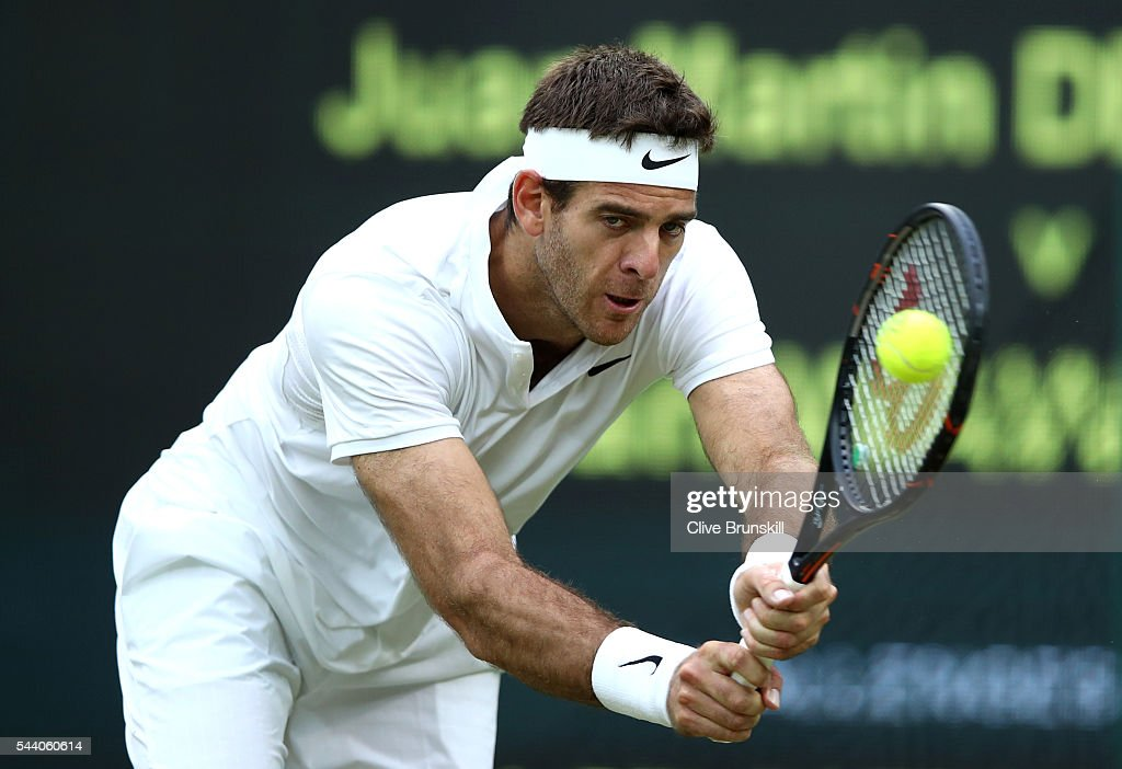Juan Martin Del Potro of Argentina plays a backhand during the Men's Singles second round match against Stan Wawrinka of Switzerland on day five of the Wimbledon Lawn Tennis Championships at the All England Lawn Tennis and Croquet Club on July 1, 2016 in London, England.