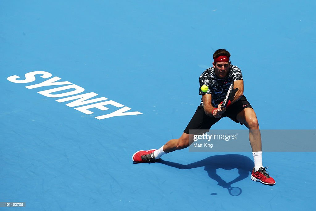 Juan Martin Del Potro of Argentina plays a backhand in his match against Sergiy Stakhovsky of Ukranie during day three of the Sydney International at Sydney Olympic Park Tennis Centre on January 13, 2015 in Sydney, Australia.