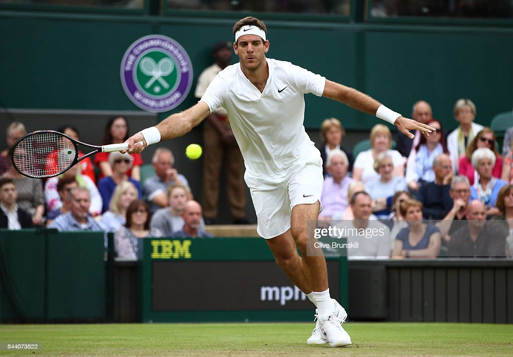 <a gi-track='captionPersonalityLinkClicked' href=/galleries/search?phrase=Juan+Martin+Del+Potro&family=editorial&specificpeople=606583 ng-click='$event.stopPropagation()'>Juan Martin Del Potro</a> of Argentina plays a forehand during the Men's Singles second round match against Stan Wawrinka of Switzerland on day five of the Wimbledon Lawn Tennis Championships at the All England Lawn Tennis and Croquet Club on July 1, 2016 in London, England.