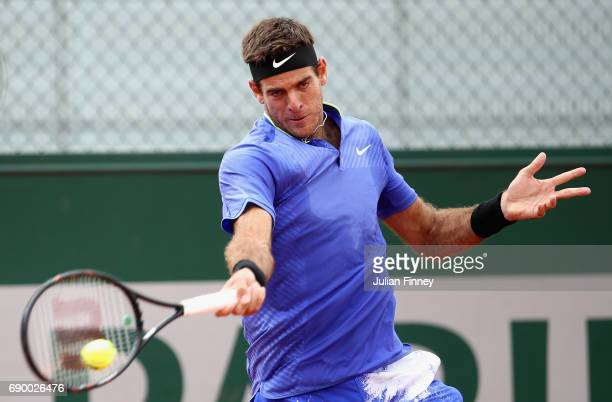 Juan Martin Del Potro of Argentina plays a forehand during the mens singles first round match against Guido Pella on day three of the 2017 French...