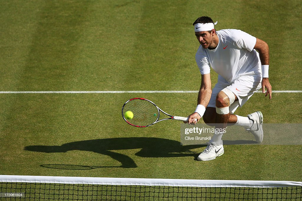 Juan Martin Del Potro of Argentina plays a forehand during the Gentlemen's Singles fourth round match against Andreas Seppi of Italy on day seven of the Wimbledon Lawn Tennis Championships at the All England Lawn Tennis and Croquet Club on July 1, 2013 in London, England.