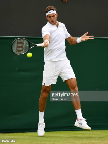 Juan Martin Del Potro of Argentina plays a forehand during the Gentlemen's Singles first round match against Thanasi Kokkinakis of Australia on day...