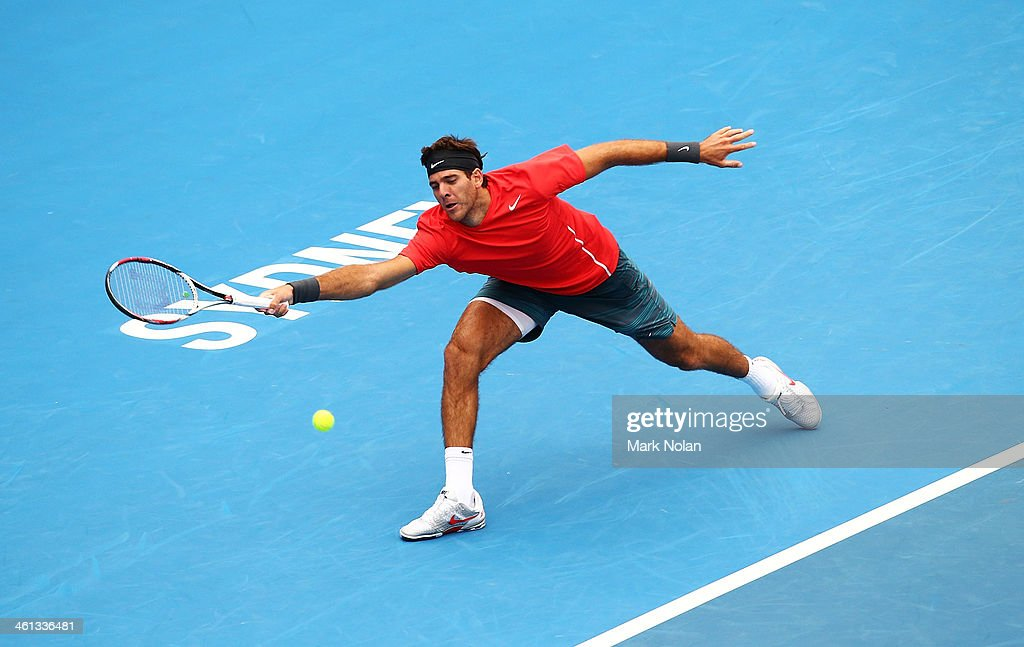 Juan Martin Del Potro of Argentina plays a forehand in his match against Nicolas Mahut of France during day four of the 2014 Sydney International at Sydney Olympic Park Tennis Centre on January 8, 2014 in Sydney, Australia.
