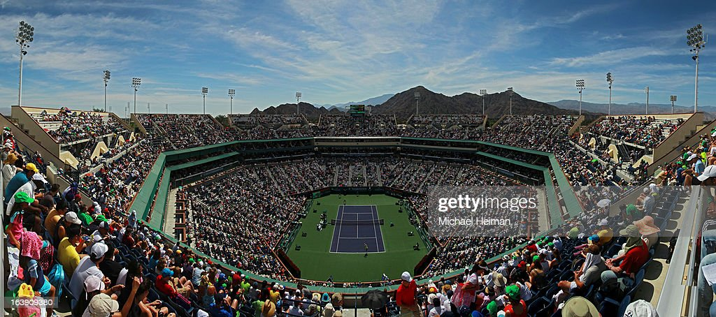 Juan Martin Del Potro of Argentina plays against Rafael Nadal of Spain during their men's final match of the 2013 BNP Paribas Open at the Indian Wells Tennis Garden on March 17, 2013 in Indian Wells, California.