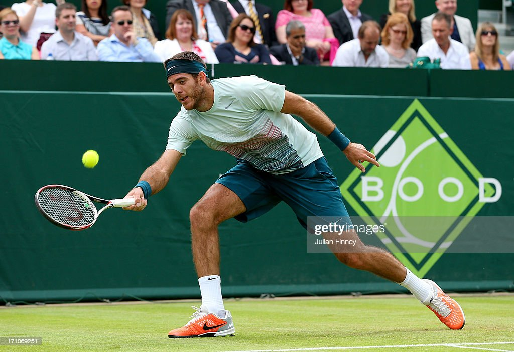 <a gi-track='captionPersonalityLinkClicked' href=/galleries/search?phrase=Juan+Martin+Del+Potro&family=editorial&specificpeople=606583 ng-click='$event.stopPropagation()'>Juan Martin Del Potro</a> of Argentina plays Richard Gasquet of France during The Boodles Tennis Event at Stoke Park on June 21, 2013 in Stoke Poges, England.