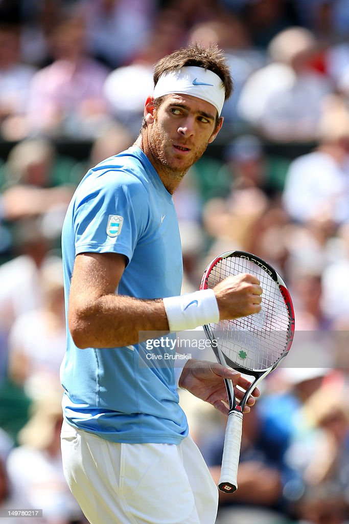 <a gi-track='captionPersonalityLinkClicked' href=/galleries/search?phrase=Juan+Martin+Del+Potro&family=editorial&specificpeople=606583 ng-click='$event.stopPropagation()'>Juan Martin Del Potro</a> of Argentina reacts after a point against Roger Federer of Switzerland in the Semifinal of Men's Singles Tennis on Day 7 of the London 2012 Olympic Games at Wimbledon on August 3, 2012 in London, England.