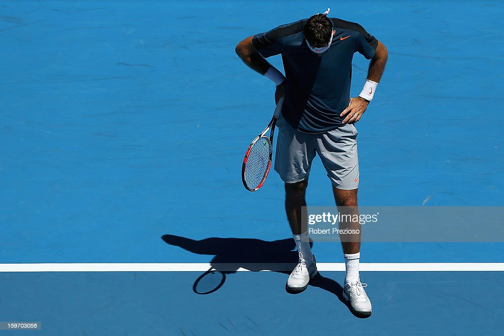 Juan Martin Del Potro of Argentina reacts after a point in his third round match against Jeremy Chardy of France during day six of the 2013 Australian Open at Melbourne Park on January 19, 2013 in Melbourne, Australia.