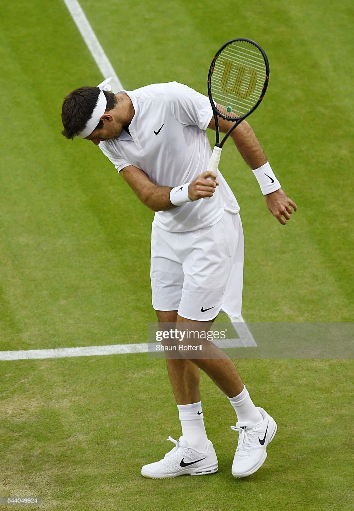 Juan Martin Del Potro of Argentina reacts during the Men's Singles second round match against Stan Wawrinka of Switzerland on day five of the Wimbledon Lawn Tennis Championships at the All England Lawn Tennis and Croquet Club on July 1, 2016 in London, England.