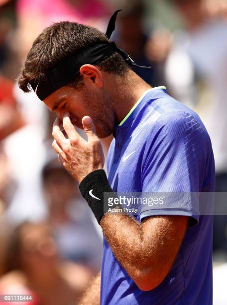Juan Martin Del Potro of Argentina reacts during the men's singles second round match against Nicolas Almagro of Spain on day five of the 2017 French...