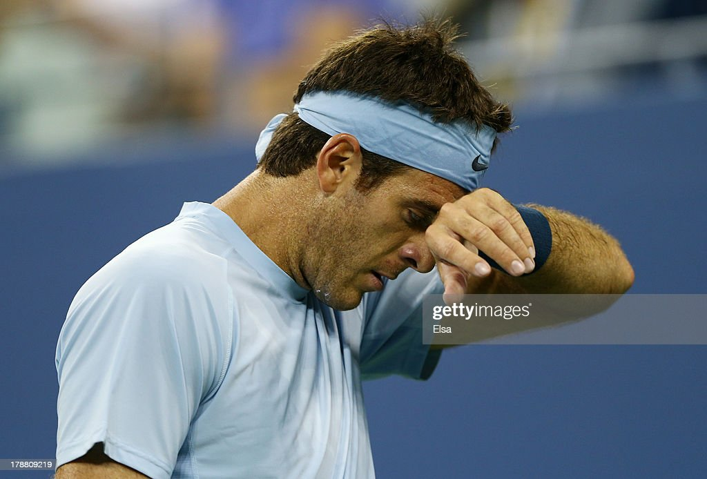 Juan Martin Del Potro of Argentina reactsto a lost point against Lleyton Hewitt of Australia during their match on Day Five of the 2013 US Open at USTA Billie Jean King National Tennis Center on August 30, 2013 in the Flushing neighborhood of the Queens borough of New York City.