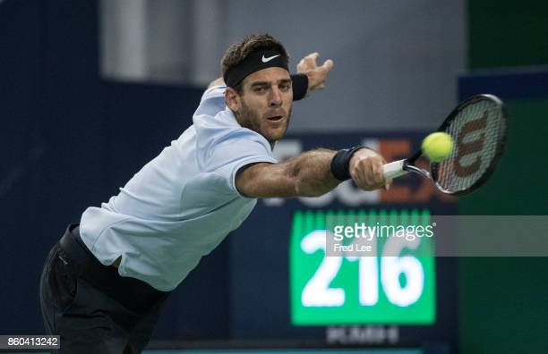 Juan Martin Del Potro of Argentina returns a shot against during the Men's singles mach third round against Alexander Zverev of Germany on day five...