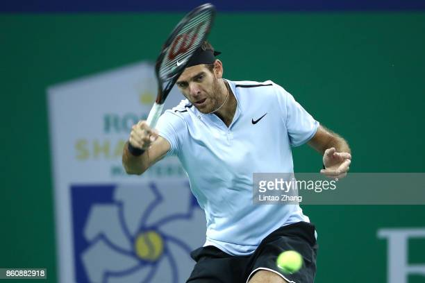 Juan Martin Del Potro of Argentina returns a shot during the Men's singles quarter final mach against Viktor Troicki of Serbia on day six of 2017 ATP...
