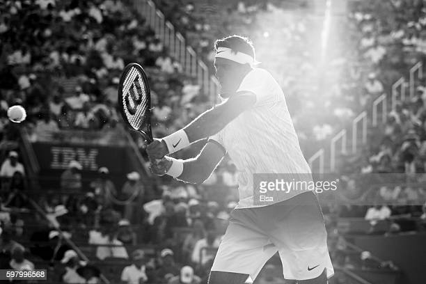 Juan Martin del Potro of Argentina returns a shot to Diego Schwartzman of Argentina during his first round Men's Singles match on Day Two of the 2016...