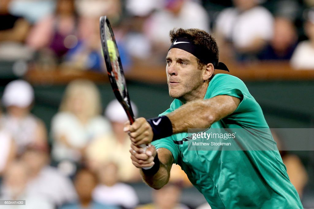 Juan Martin Del Potro of Argentina returns a shot to Novak Djokovic of Serbia during the BNP Paribas Open at the Indian Wells Tennis Garden on March 14, 2017 in Indian Wells, California.
