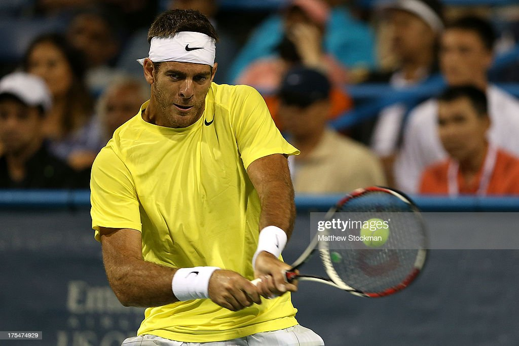 <a gi-track='captionPersonalityLinkClicked' href=/galleries/search?phrase=Juan+Martin+Del+Potro&family=editorial&specificpeople=606583 ng-click='$event.stopPropagation()'>Juan Martin Del Potro</a> of Argentina returns a shot to Tommy Haas of Germany during the semifinals of the Citi Open at the William H.G. FitzGerald Tennis Center on August 3, 2013 in Washington, DC.