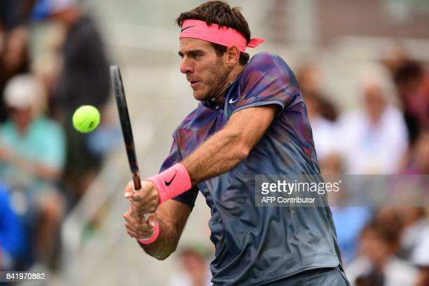 Juan Martin del Potro of Argentina returns the ball to Roberto Bautista Agut of Spain during their 2017 US Open Men's Singles match at the USTA...