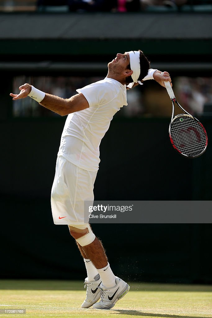 Juan Martin Del Potro of Argentina serves during the Gentlemen's Singles fourth round match against Andreas Seppi of Italy on day seven of the Wimbledon Lawn Tennis Championships at the All England Lawn Tennis and Croquet Club on July 1, 2013 in London, England.