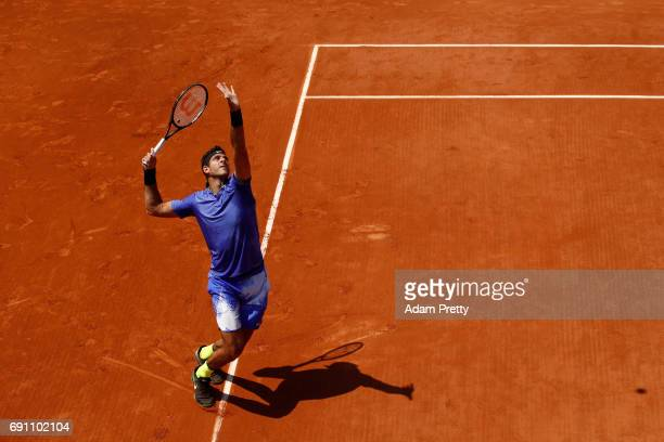 Juan Martin Del Potro of Argentina serves during the men's singles second round match against Nicolas Almagro of Spain on day five of the 2017 French...