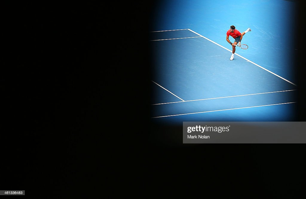 Juan Martin Del Potro of Argentina serves in his match against Nicolas Mahut of France during day four of the 2014 Sydney International at Sydney Olympic Park Tennis Centre on January 8, 2014 in Sydney, Australia.
