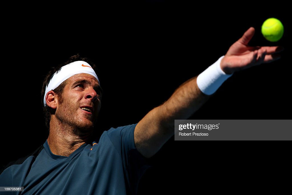 Juan Martin Del Potro of Argentina serves in his third round match against Jeremy Chardy of France during day six of the 2013 Australian Open at Melbourne Park on January 19, 2013 in Melbourne, Australia.