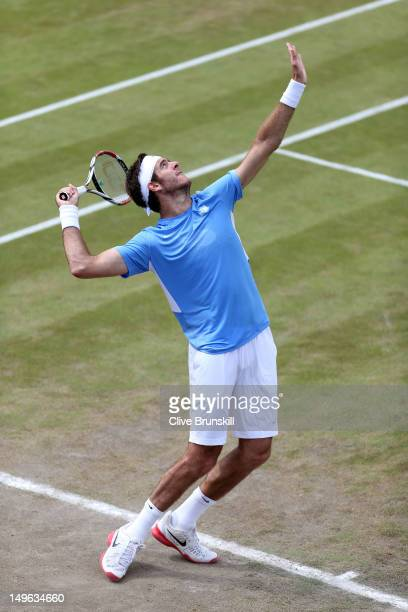 Juan Martin Del Potro of Argentina serves the ball against Gilles Simon of France during the third round of Men's Singles Tennis on Day 5 of the...