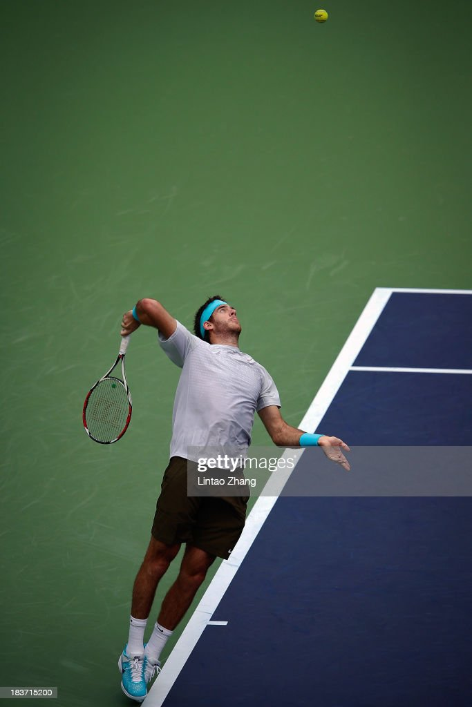 Juan Martin Del Potro of Argentina serves to Philipp Kohlschreiber of Germany during day three of the Shanghai Rolex Masters at the Qi Zhong Tennis Center on October 9, 2013 in Shanghai, China.