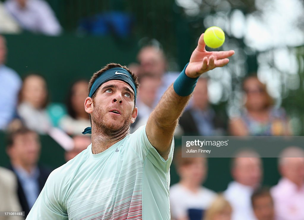 <a gi-track='captionPersonalityLinkClicked' href=/galleries/search?phrase=Juan+Martin+Del+Potro&family=editorial&specificpeople=606583 ng-click='$event.stopPropagation()'>Juan Martin Del Potro</a> of Argentina serves to Richard Gasquet of France during The Boodles Tennis Event at Stoke Park on June 21, 2013 in Stoke Poges, England.