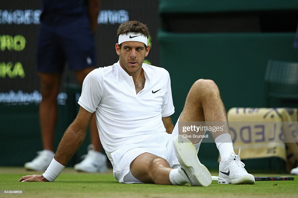 <a gi-track='captionPersonalityLinkClicked' href=/galleries/search?phrase=Juan+Martin+Del+Potro&family=editorial&specificpeople=606583 ng-click='$event.stopPropagation()'>Juan Martin Del Potro</a> of Argentina slips after playing a shot during the Men's Singles second round match against Stan Wawrinka of Switzerland on day five of the Wimbledon Lawn Tennis Championships at the All England Lawn Tennis and Croquet Club on July 1, 2016 in London, England.