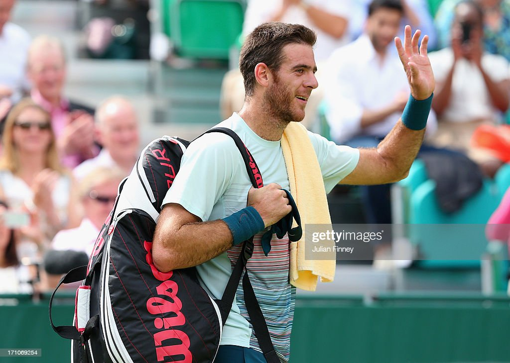 <a gi-track='captionPersonalityLinkClicked' href=/galleries/search?phrase=Juan+Martin+Del+Potro&family=editorial&specificpeople=606583 ng-click='$event.stopPropagation()'>Juan Martin Del Potro</a> of Argentina thanks the support after his match against Richard Gasquet of France during The Boodles Tennis Event at Stoke Park on June 21, 2013 in Stoke Poges, England.