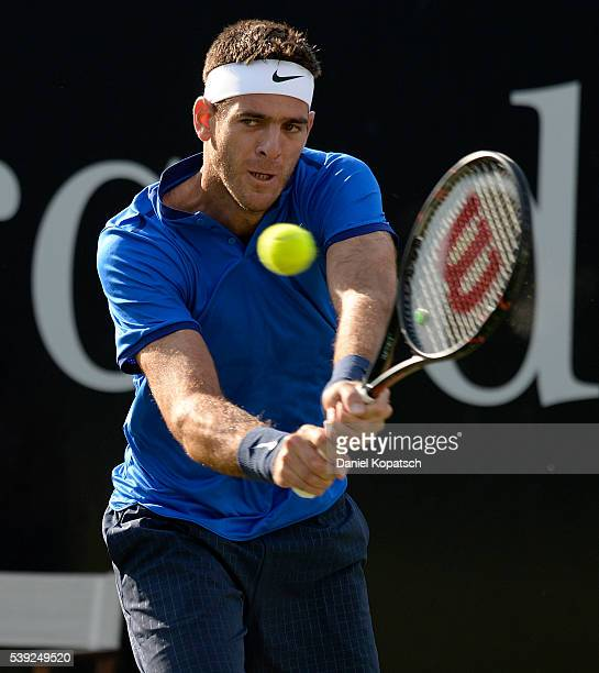 Juan Martin del Potro of Argentinia returns against Gilles Simon of France during the quarterfinals on day 7 of Mercedes Cup 2016 on June 10 2016 in...