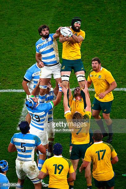 Juan Martin Fernandez Lobbe of Argentina and Scott Fardy of Australia compete for the line out ball during the 2015 Rugby World Cup Semi Final match...