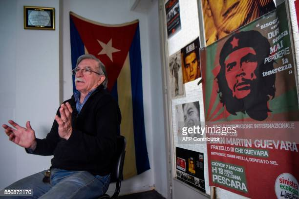 Juan Martin Guevara brother of late Argentine revolutionary legend Ernesto 'Che' Guevara speaks during an interview with AFP at his office in Buenos...