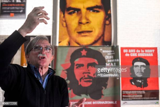 Juan Martin Guevara brother of late Argentine revolutionary legend Ernesto 'Che' Guevara gestures during an interview with AFP at his office in...