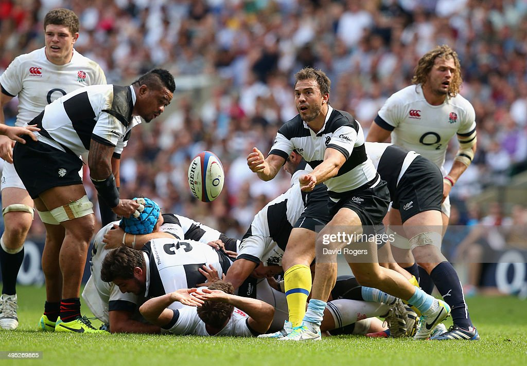 Juan Martin Hernandez of the Barbarians dispatches the ball during the Rugby Union International Match between England and The Barbarians at Twickenham Stadium on June 1, 2014 in London, England