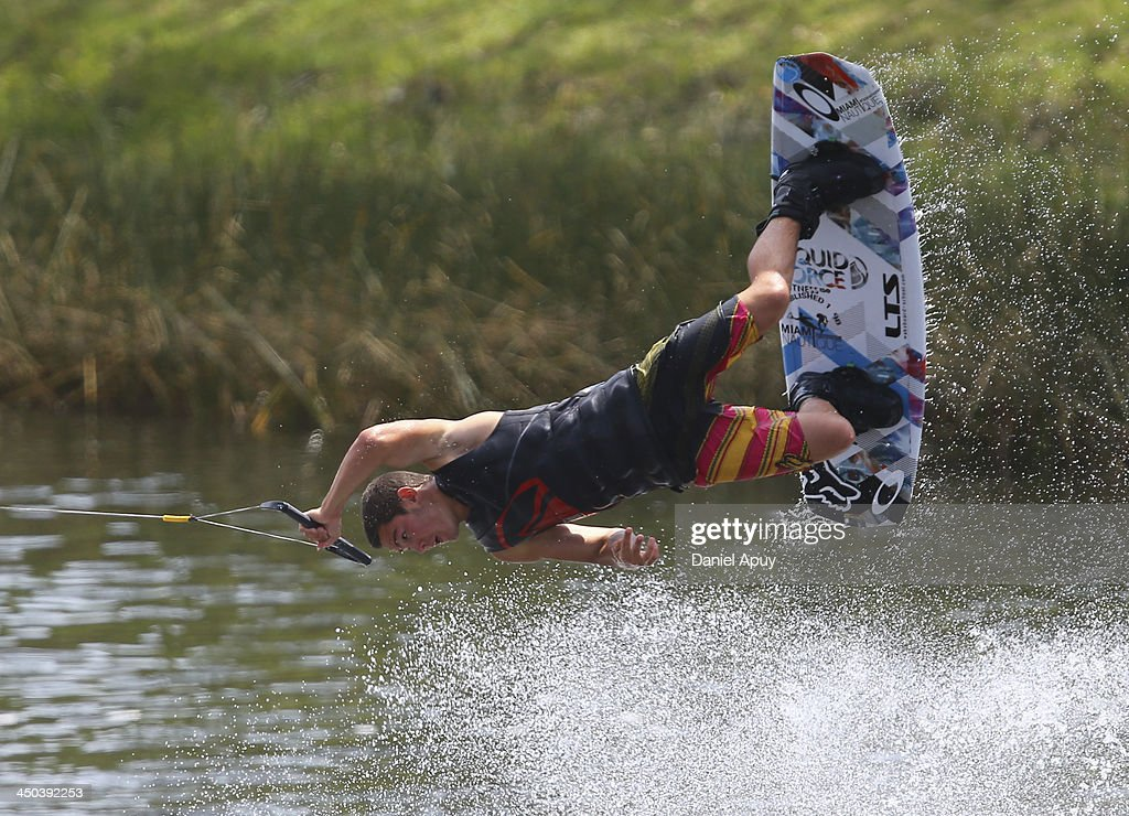 Juan Martin Velez of Colombia during the Water Skiing Wakeboard Men Final event as part of the XVII Bolivarian Games Trujillo 2013 at Laguna de Bujama on November 18, 2013 in Lima, Peru.