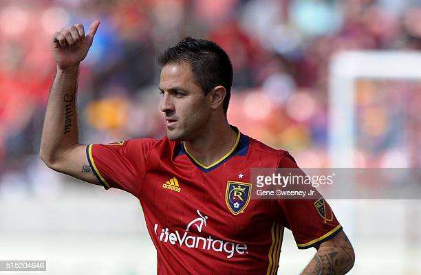 Juan Martinez of Real Salt Lake gestures to his teammates in the the first half of their 21 win over Seattle Sounders FC at Rio Tinto Stadium on...