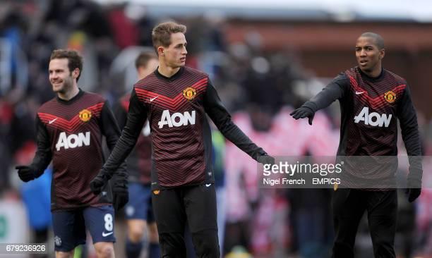 Juan Mata Adnan Januzaj and Ashley Young warm up before the game between Manchester United and Stoke City