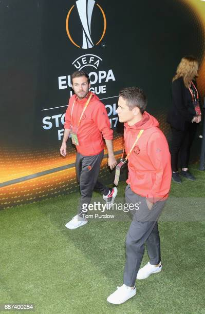 Juan Mata and Ander Herrera of Manchester United arrive for a walk on the pitch ahead of the UEFA Europa League Final at Friends Arena on May 23 2017...