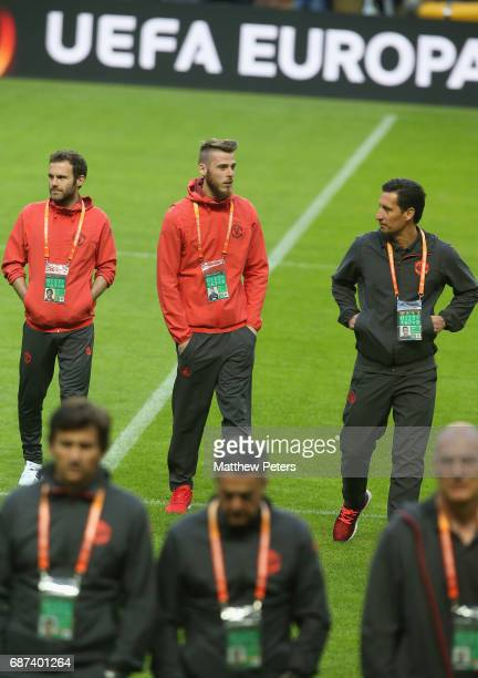 Juan Mata and David de Gea of Manchester United walk on the pitch ahead of the UEFA Europa League Final at Friends Arena on May 23 2017 in Stockholm...