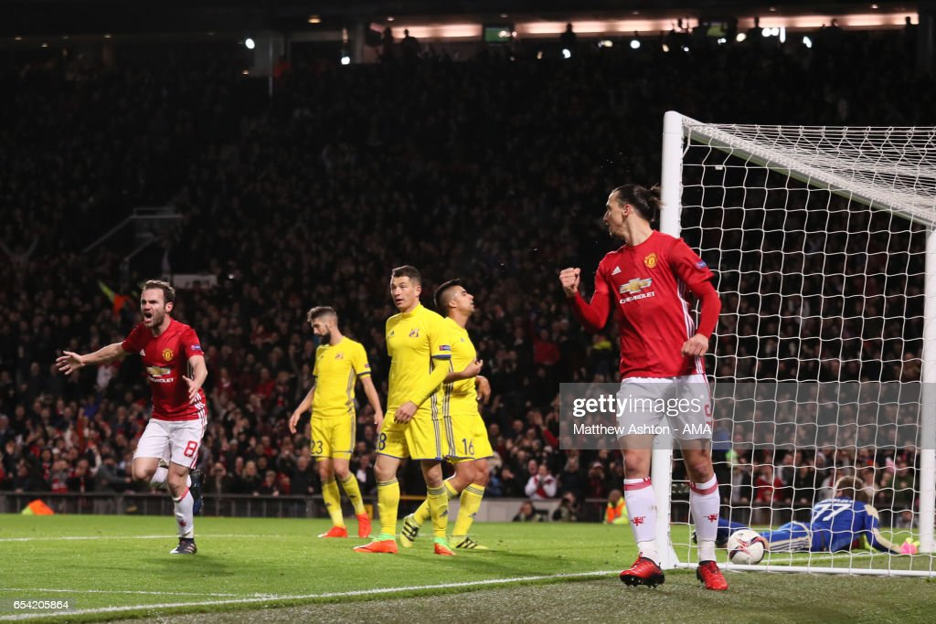 Juan Mata (l) and Zlatan Ibrahimovic of Manchester United celebrate the first goal which made the score 1-0 during the UEFA Europa League Round of 16 second leg match between Manchester United and FK Rostov at Old Trafford on March 16, 2017 in Manchester, United Kingdom.