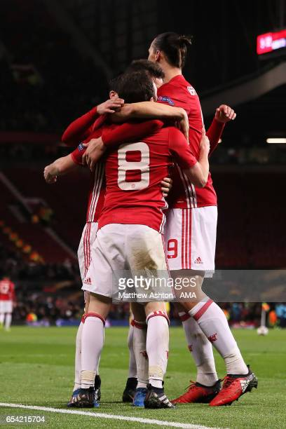 Juan Mata Henrikh Mkhitaryan Ander Herrera and Zlatan Ibrahimovic of Manchester United celebrate the first goal which made the score 10 during the...
