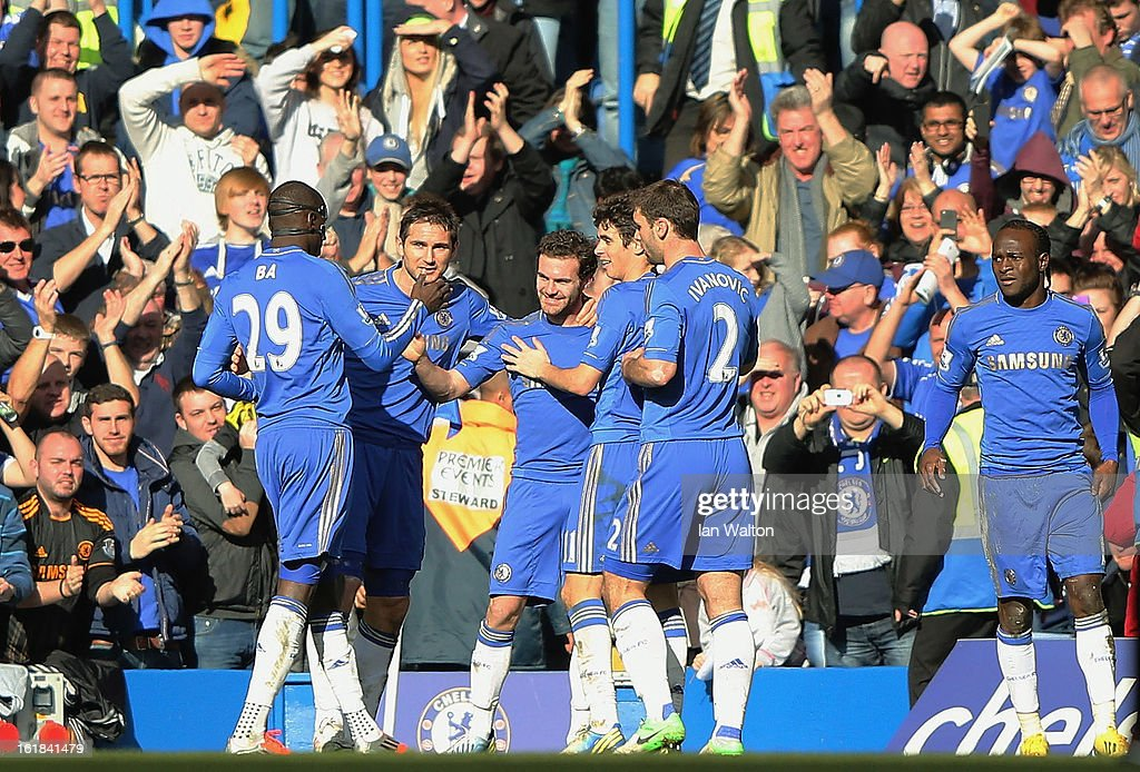 Juan Mata of Chelsea ceebrates scoring a goal during the FA Cup Fourth Round Replay match between Chelsea and Brentford at Stamford Bridge on February 17, 2013 in London, England.