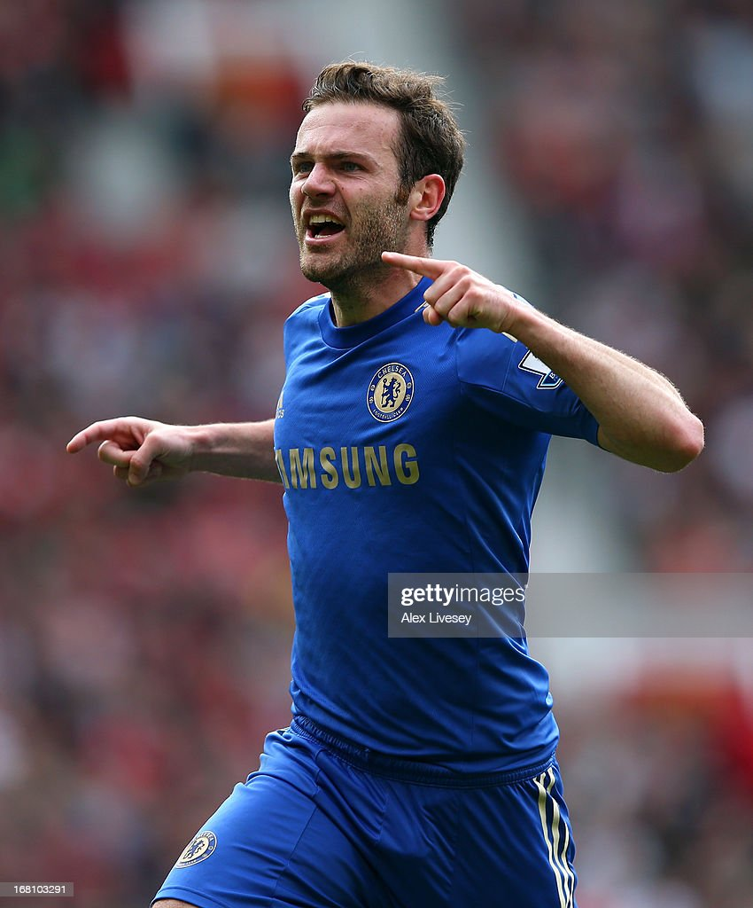 <a gi-track='captionPersonalityLinkClicked' href=/galleries/search?phrase=Juan+Mata&family=editorial&specificpeople=4784696 ng-click='$event.stopPropagation()'>Juan Mata</a> of Chelsea celebrates after scoring the winning goal during the Barclays Premier League match between Manchester United and Chelsea at Old Trafford on May 5, 2013 in Manchester, England.