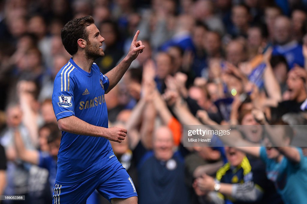 <a gi-track='captionPersonalityLinkClicked' href=/galleries/search?phrase=Juan+Mata&family=editorial&specificpeople=4784696 ng-click='$event.stopPropagation()'>Juan Mata</a> of Chelsea celebrates scoring the opening goal during the Barclays Premier League match between Chelsea and Everton at Stamford Bridge on May 19, 2013 in London, England.