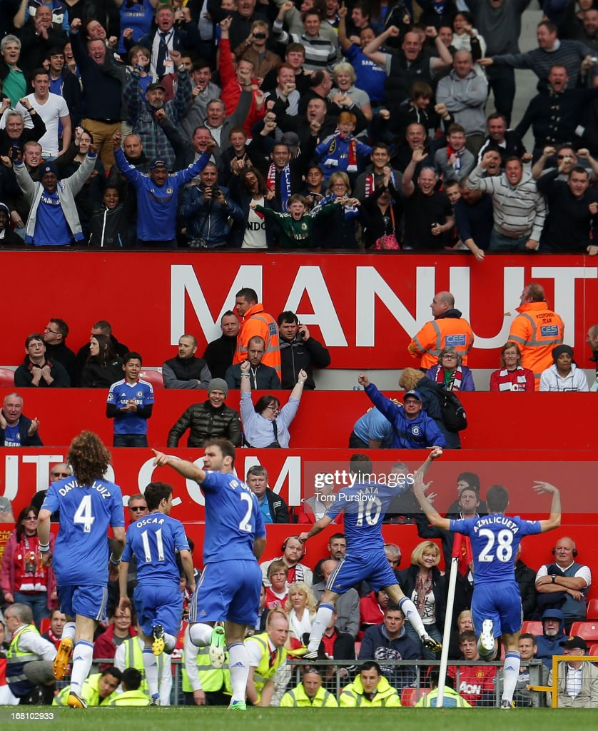 <a gi-track='captionPersonalityLinkClicked' href=/galleries/search?phrase=Juan+Mata&family=editorial&specificpeople=4784696 ng-click='$event.stopPropagation()'>Juan Mata</a> of Chelsea celebrates scoring their first goal during the Barclays Premier League match between Manchester United and Chelsea at Old Trafford on May 5, 2013 in Manchester, England.