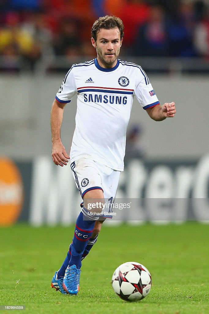 <a gi-track='captionPersonalityLinkClicked' href=/galleries/search?phrase=Juan+Mata&family=editorial&specificpeople=4784696 ng-click='$event.stopPropagation()'>Juan Mata</a> of Chelsea during the UEFA Champions League Group E Match between FC Steaua Bucuresti and Chelsea at the National Arena Stadium on October 1, 2013 in Bucharest, Romania.
