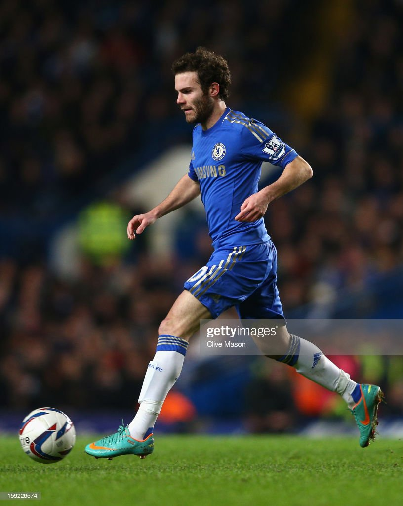 Juan Mata of Chelsea in action during the Capital One Cup Semi-Final first leg match between Chelsea and Swansea City at Stamford Bridge on January 9, 2013 in London, England.